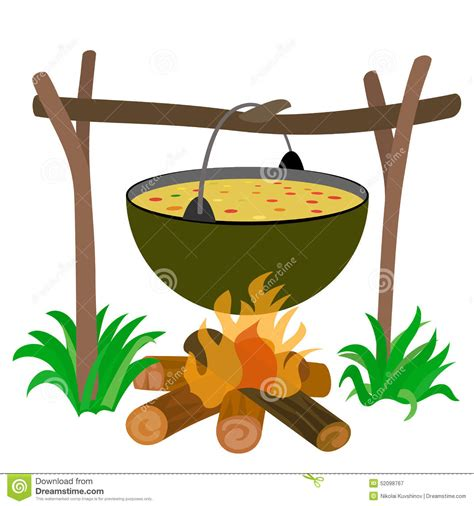 kessel der suppe im lagerfeuer vektor abbildung bild
