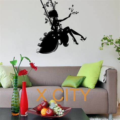 Wall Stickers Beautiful Fairies Interior Home Wall Aliexpress Buy Beautiful Silhouette On A