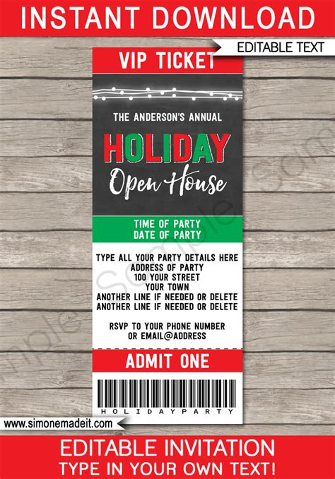 printable holiday party ticket invitations printable