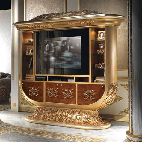 luxury tv european style luxury imperial wood carved chagne gold