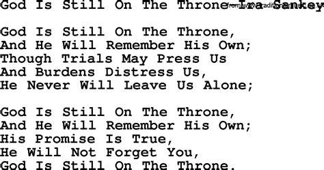 Still On The by God Is Still On The Throne Ira Sankey Txt By Ira Sankey