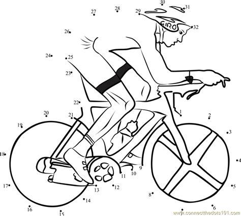 printable dot to dot sports cyclist on bicycle dot to dot printable worksheet