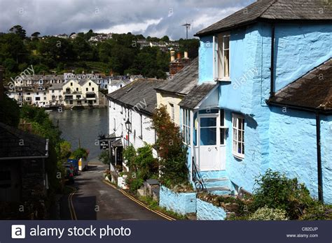Quaint Blue Cottage River Fowey In Background Bodinnick Cottages Fowey