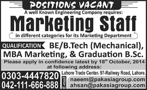 Best For Mechanical Engineers With Mba by Marketing In Lahore October 2014 For Mechanical