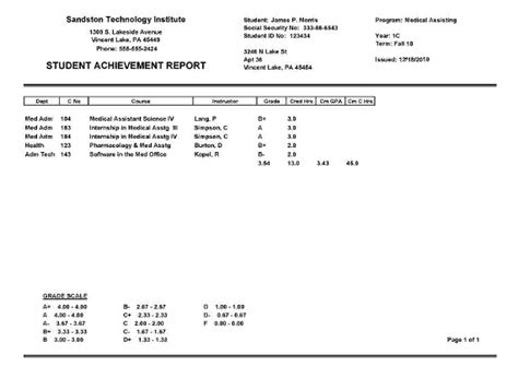 College Report Card Template by Report Card Maker