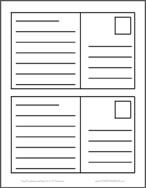 postcard free template printable this free printable features two blank postcards per sheet