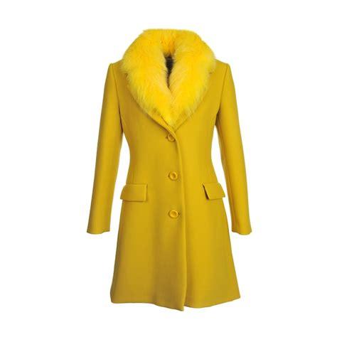 Moschino Coat boutique moschino yellow coat boutique moschino fur trim