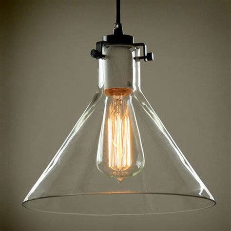 Industrial Pendant Light Shade Cone Glass L Shade Pendant Light Warehouse Industrial Edison Lighting