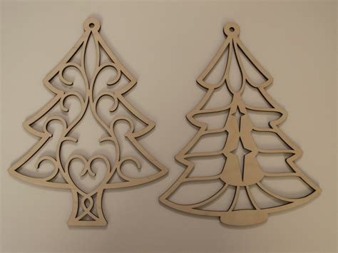 christmas tree laser cut wood ornaments by tomacraftplace