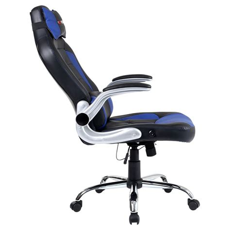 reclining gaming desk chair gtforce blaze blue reclining leather sports racing office