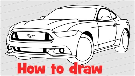 mustang drawing how to draw a car ford mustang gt 2017
