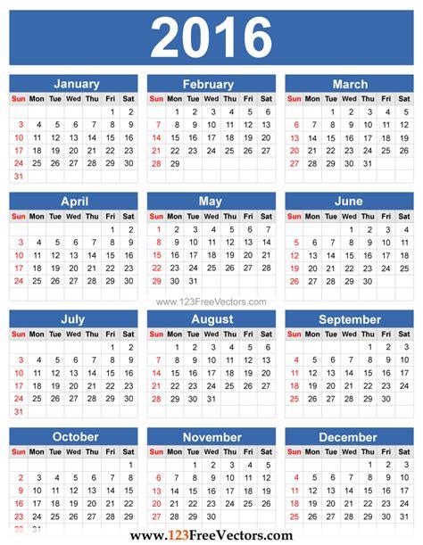 2016 calendar vector by 123freevectors on deviantart