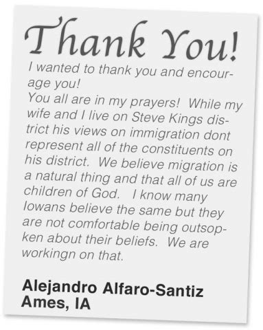 thank you letter to pastor for sermon fast for families voters in steve king s district thank