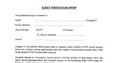 contoh surat pernyataan npwp dengan materai