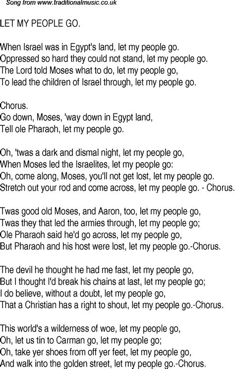 go song old time song lyrics for 16 let my people go