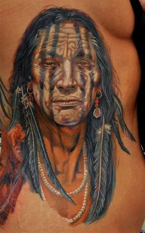 this portrait tattoo of a native american tribal elder