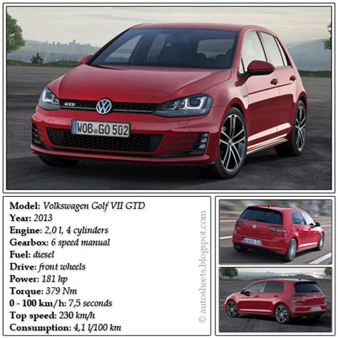 Golf Auto Data by Auto Data Sheets Volkswagen Golf Vii Gtd 2013