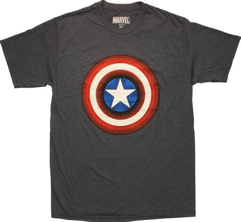 T Shirt Captain America Navy captain america shield logo heathered navy t shirt