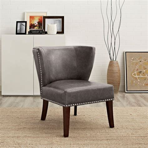 grey leather accent chair simpli home jamestown elephant grey bonded leather accent