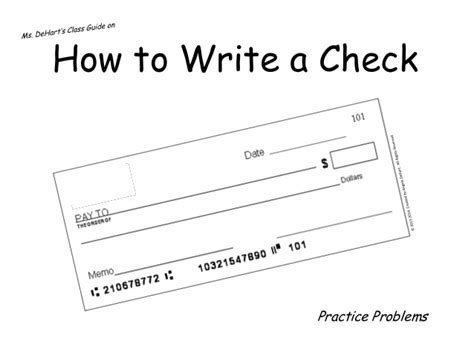 How To Write A Check Worksheet How To Write A Check Practice