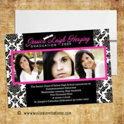 high school graduation invitations pink photo designs printable or prints