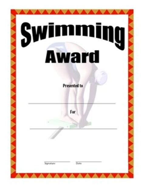 swimming award certificate template swimming award certificate two certificate templates