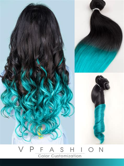 ombre weave hair extensions blue mermaid ombre human hair extensions clip in cs029