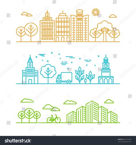 linear layout web design vector city illustration linear style buildings stock