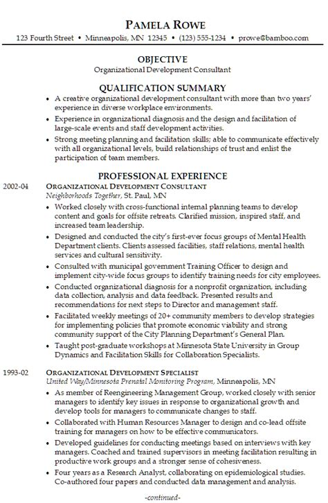 Resume Organizational Skills Exles by Resume For Organizational Development Susan Ireland Resumes