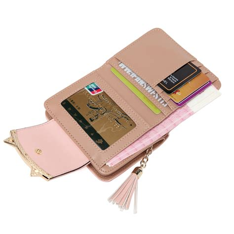 Trifold Wallet With Tassel cat ears trifold wallet with tassel 4 colors korean