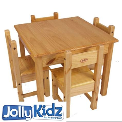 childrens wooden table and chair set wooden table set jollykidz tough timber table