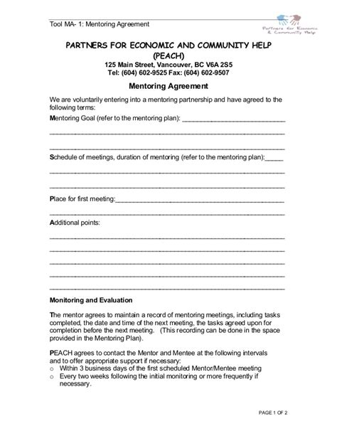 Peach Mentorshipprogramcomplete Coaching And Mentoring Agreement Template