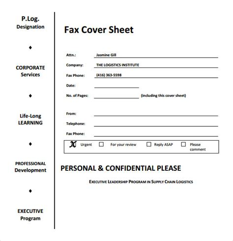 urgent fax cover sheet sle fax cover sheet 6 documents in word pdf