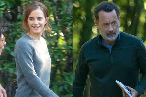 emma watson tom hanks movie emma watson tom hanks wrap up another day on the circle