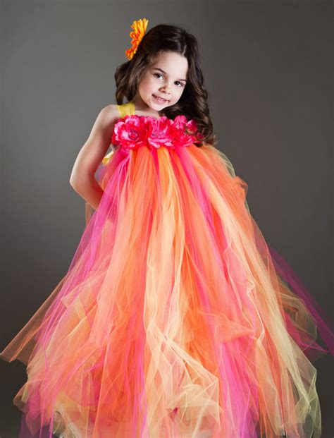 tutu dress orange and pink flower tutu dress tutu dresses
