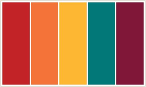 orange color schemes colorcombo380 with hex colors c22326 f37338 fdb632