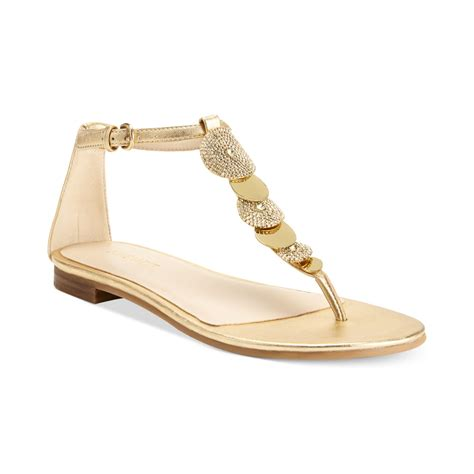 nine west sandals nine west zachariah flat sandals in gold lyst