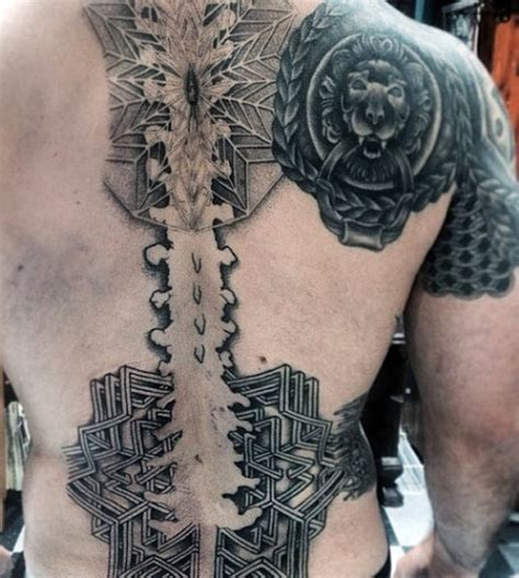 geometric tattoo on spine 75 spine tattoos for men masculine ink design ideas