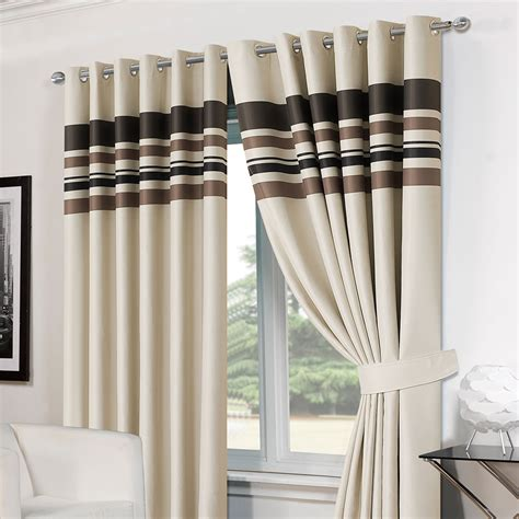 Striped Blackout Curtains Striped Ring Top Lined Pair Eyelet Ready Made Thermal Blackout Curtains Tiebacks Ebay