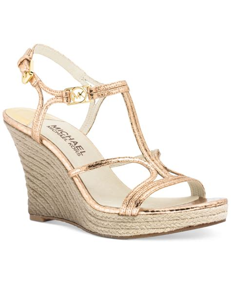 Wedges Gloss Gold michael kors michael cicely platform wedge sandals in gold