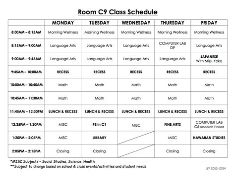Pin Class Schedule Template Elementary On Pinterest Elementary School Class Schedule Template