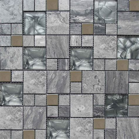 glass and marble grey colour mosaic tile 300x300mm mosaic sheet 7186 tile factory outlet