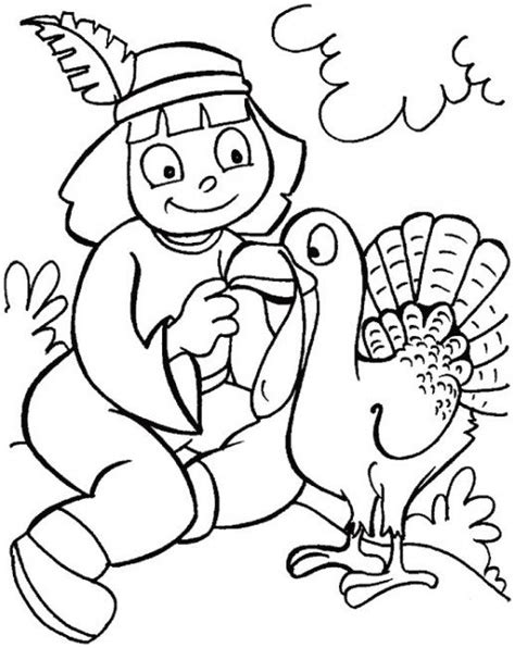 girl turkey coloring page thanksgiving indian girl indian girl and turkey
