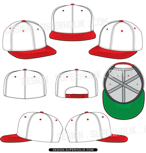 Hat Template Set 01 Hellovector Snapback Design Template