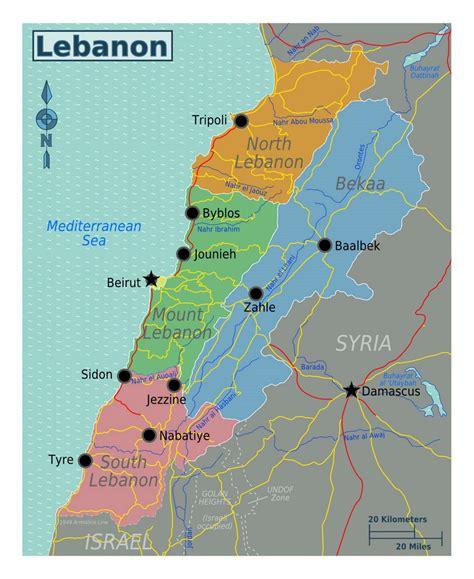 map world lebanon detailed regions map of lebanon lebanon asia