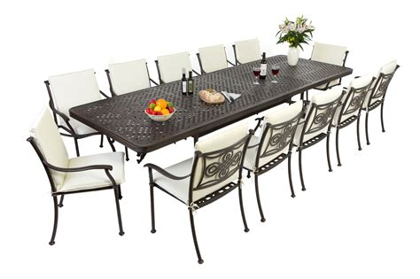 Outdoor Patio Tables And Chairs Outside Edge Garden Furniture The Extending Cast Aluminium Garden Furniture Set In