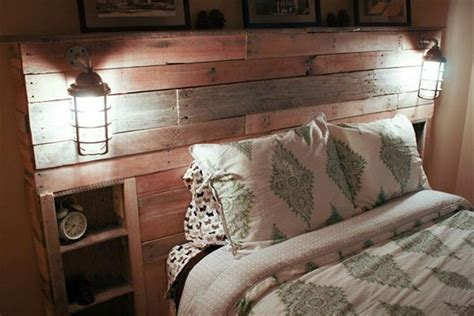 diy pallet headboard  lights pallet wood projects