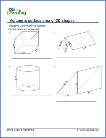printable math worksheets surface area mixed shapes grade 6 geometry worksheets free printable k5 learning