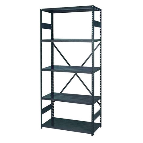 lowes metal shelves shop edsal 75 in h x 36 in w x 12 in d 5 tier steel freestanding shelving unit at lowes