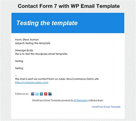 Wp Email Template Wordpress Org Demo Email Template